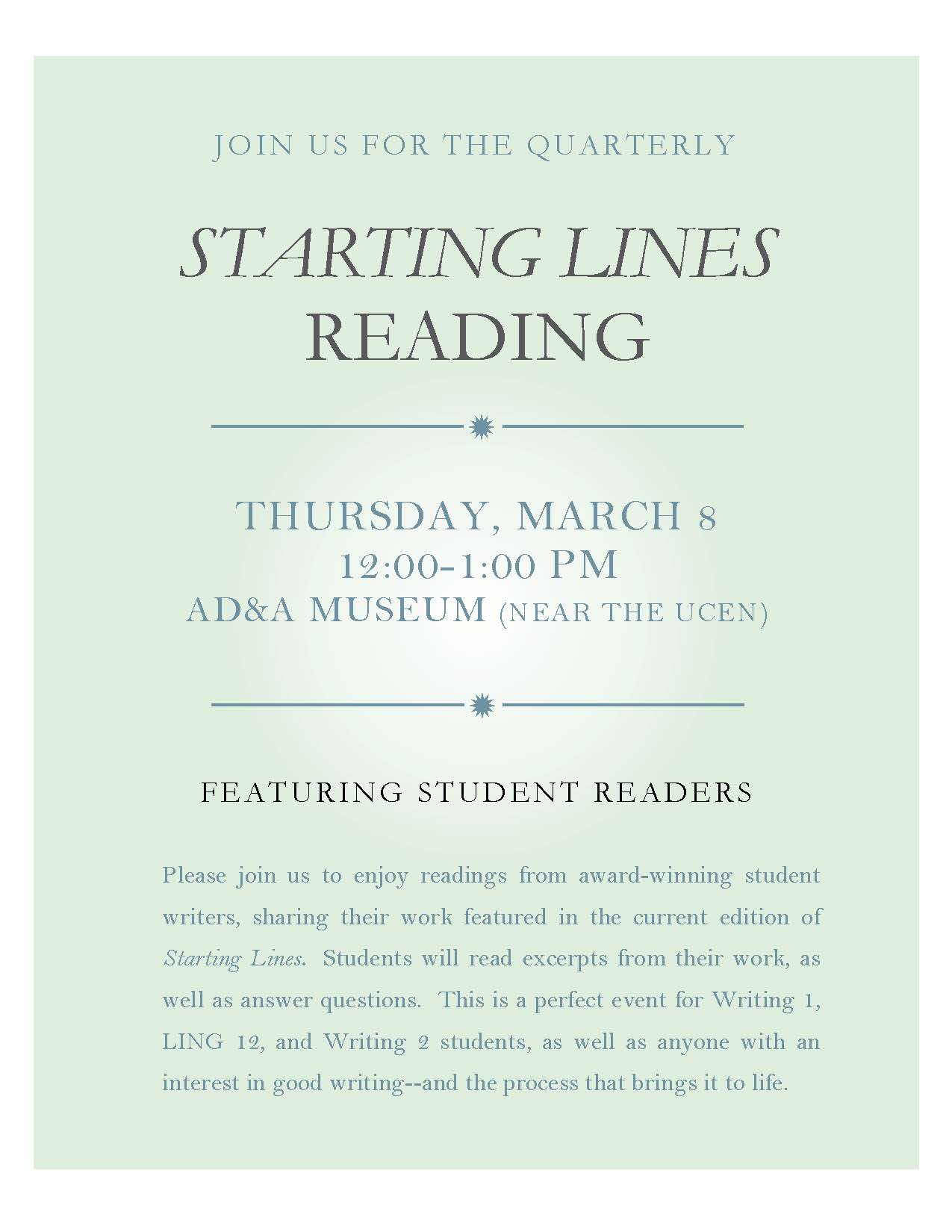 Invitation to starting lines quarterly reading writing program thursday 38 1200 100pm ada museum contact bob krut for additional info rkrutwritingucsb stopboris Gallery