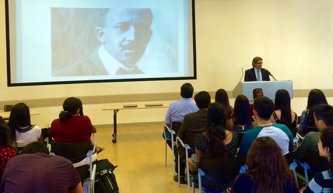 Professor Gerardo Aldana speaks at the W.E.B. DuBois event.